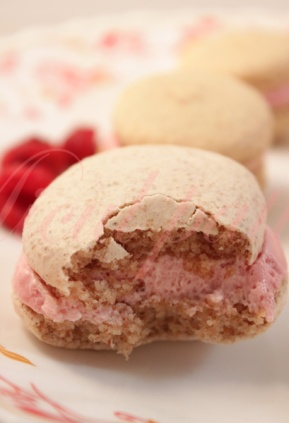 Macarons cu vanilie si crema de zmeura