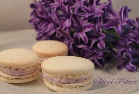 Macarons cu vanilie si crema de afine