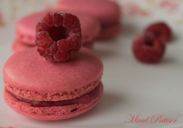 Macarons roz colorate natural zmeura