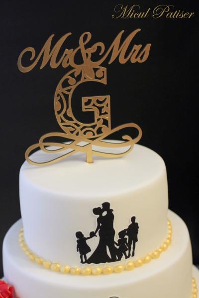 Tort de nunta siluete si topper personalizat