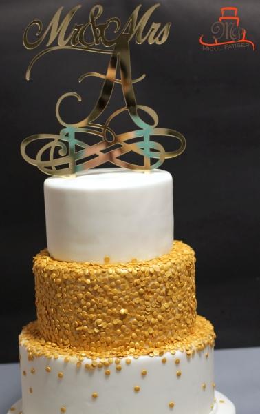Tort nunta topper auriu