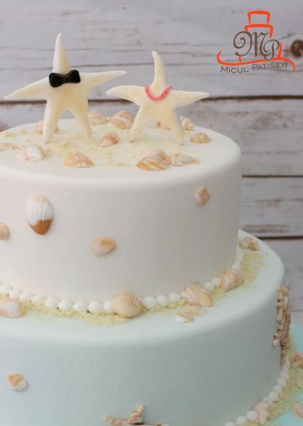 Topper tort de nunta stelute de mare