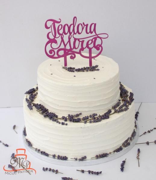 Tort botez fetita - lavanda topper nume