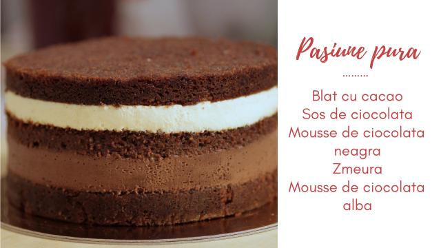Pasiune pura - tort cu ciocolata alba, ciocolata neagra si zmeura