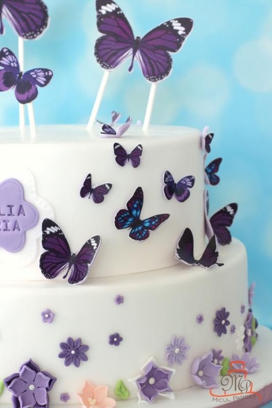 Tort pentru botez cu fluturi mov